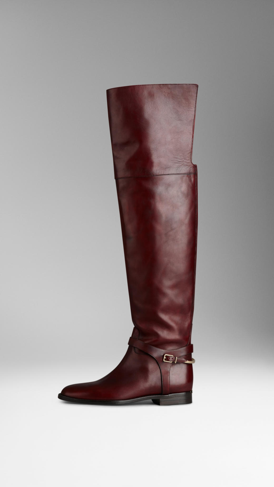 ecdbae392b4 Lyst - Burberry Buckle Detail Over-The-Knee Boots in Red