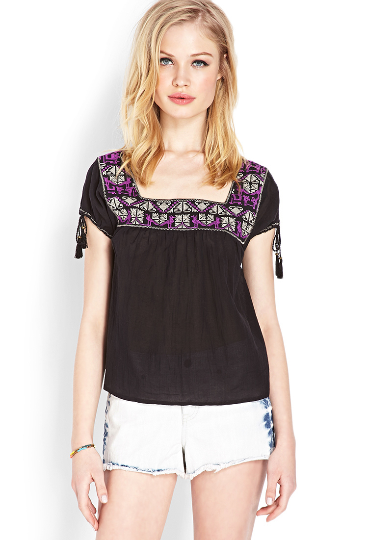 bfdf14fe7d5252 Lyst - Forever 21 Whimsical Embroidered Peasant Top in Purple
