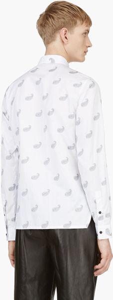 Kris Van Assche White Paisley Pattern Button Down Shirt In