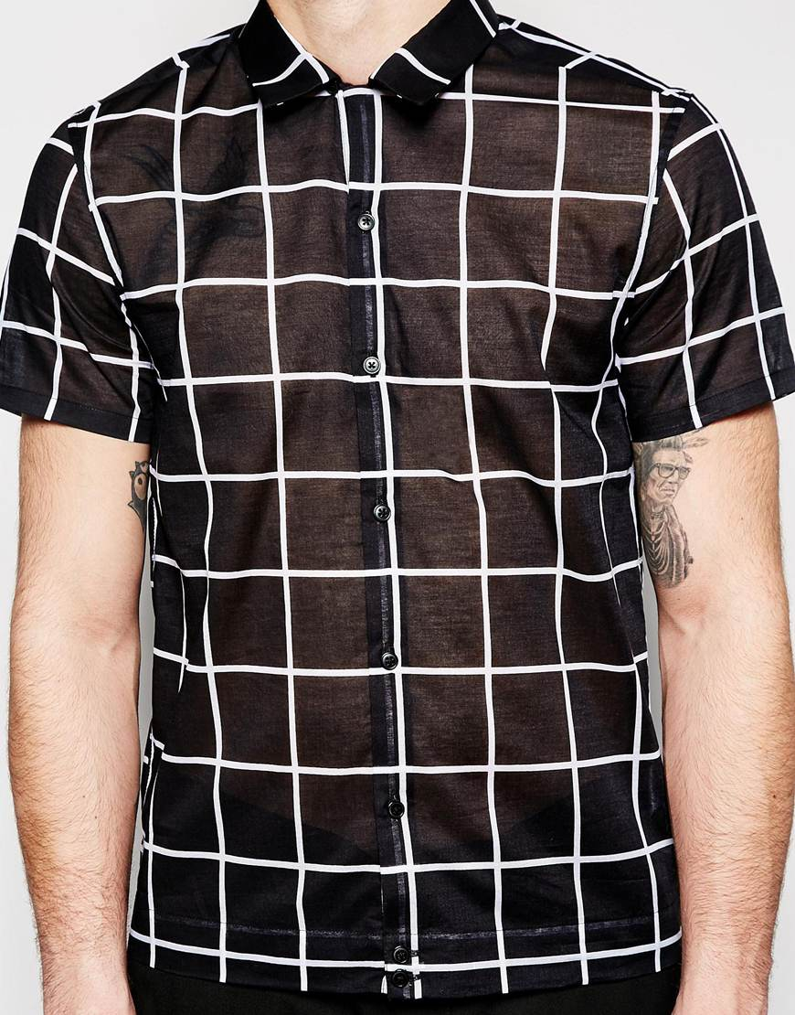 Asos Shirt In Boxy Fit With Sheer Fabric And Grid Check in Black ...