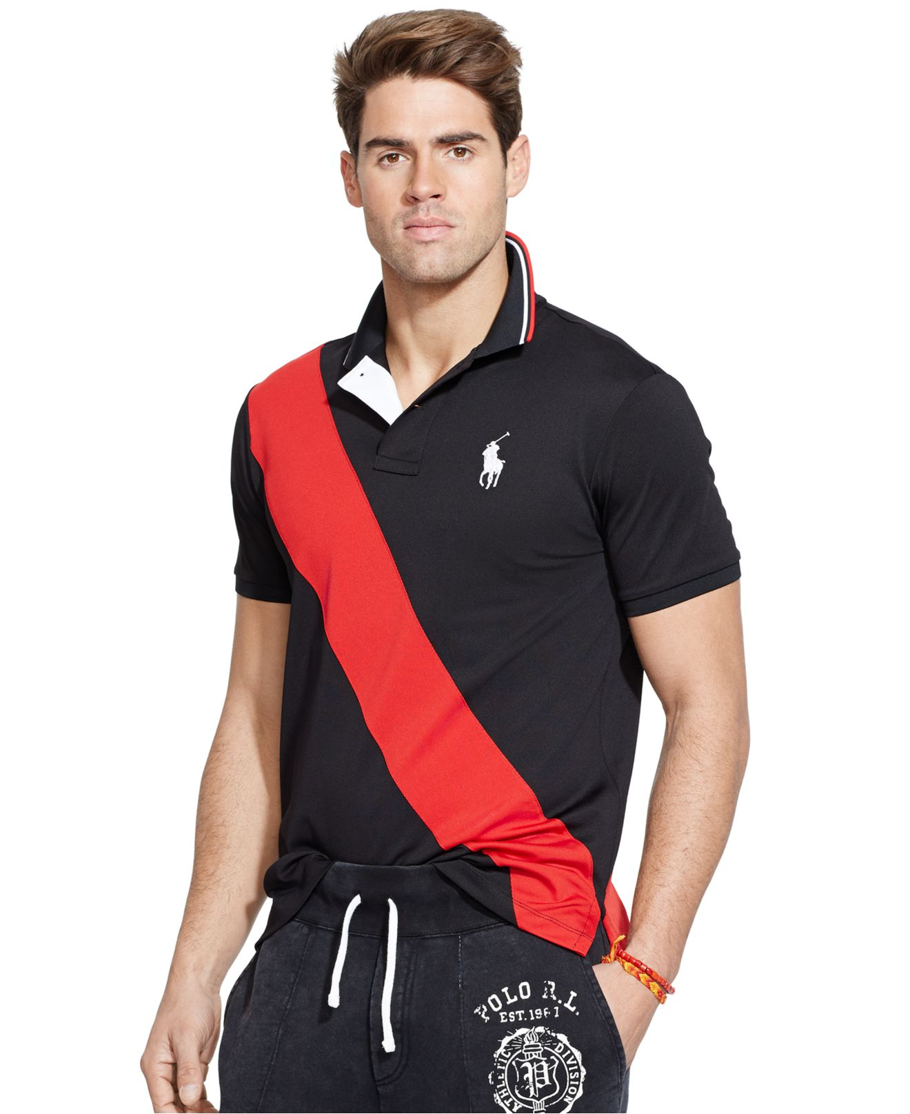 Polo Ralph Lauren Banner Striped Mesh Performance Polo In
