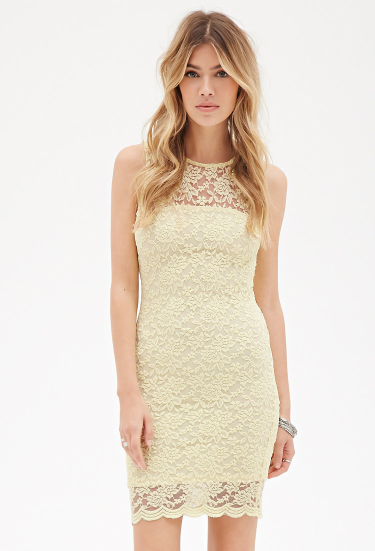 Lyst - Forever 21 Floral Lace Bodycon Dress in Yellow