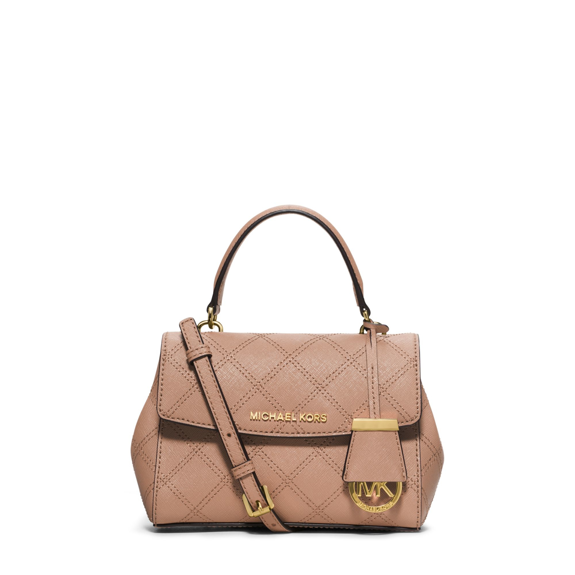 2ff59a6ce454 Lyst - Michael Kors Ava Saffiano-Leather Cross-Body Bag in Brown