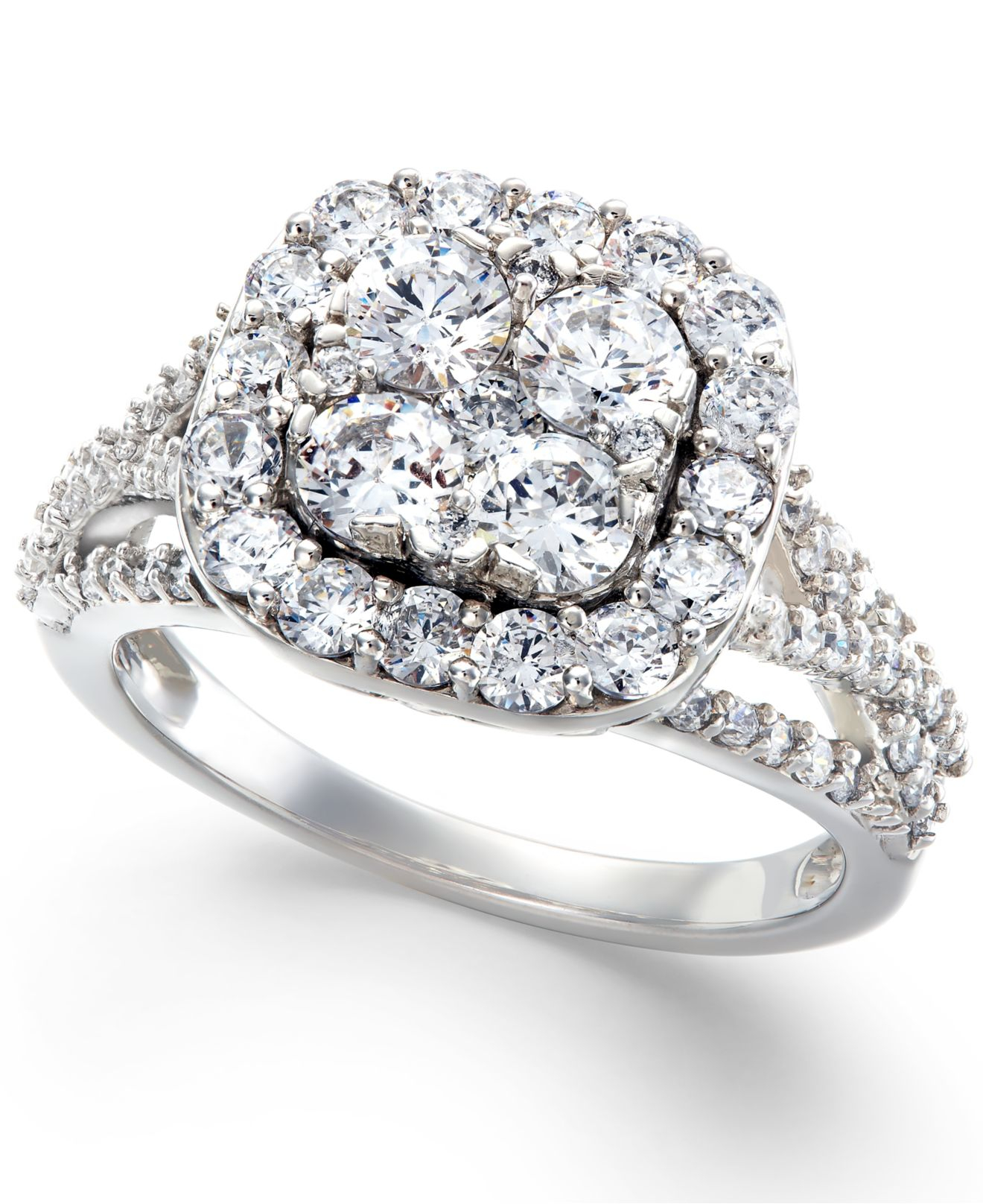 Macy s Diamond Halo Cluster Engagement Ring In 14k White Gold 2 Ct T w