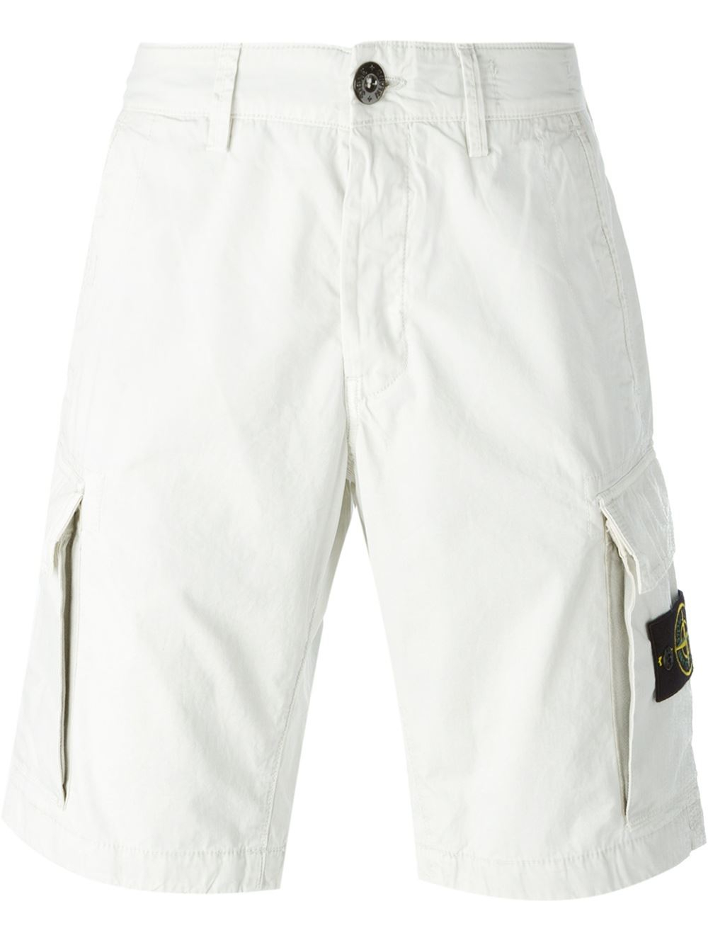lyst stone island cargo shorts in white for men. Black Bedroom Furniture Sets. Home Design Ideas