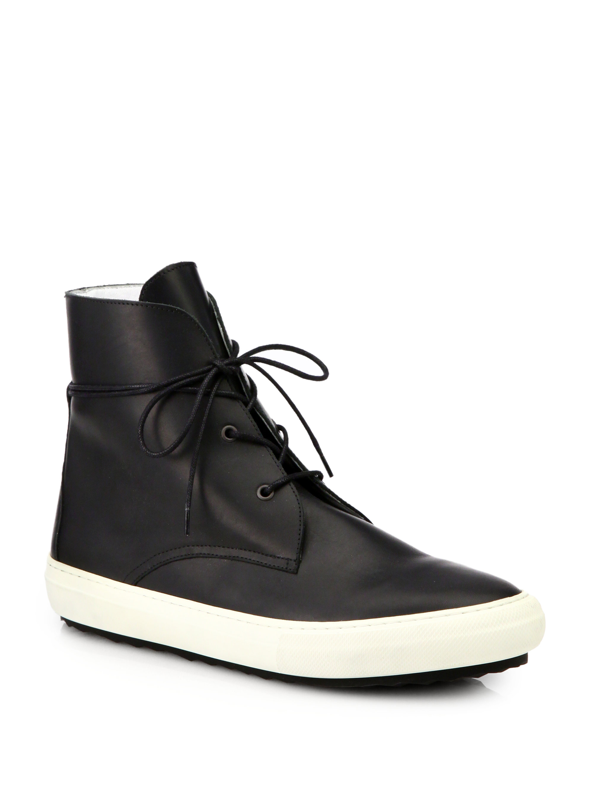 Pierre Hardy Leather High Top Sneakers In Black For Men Lyst