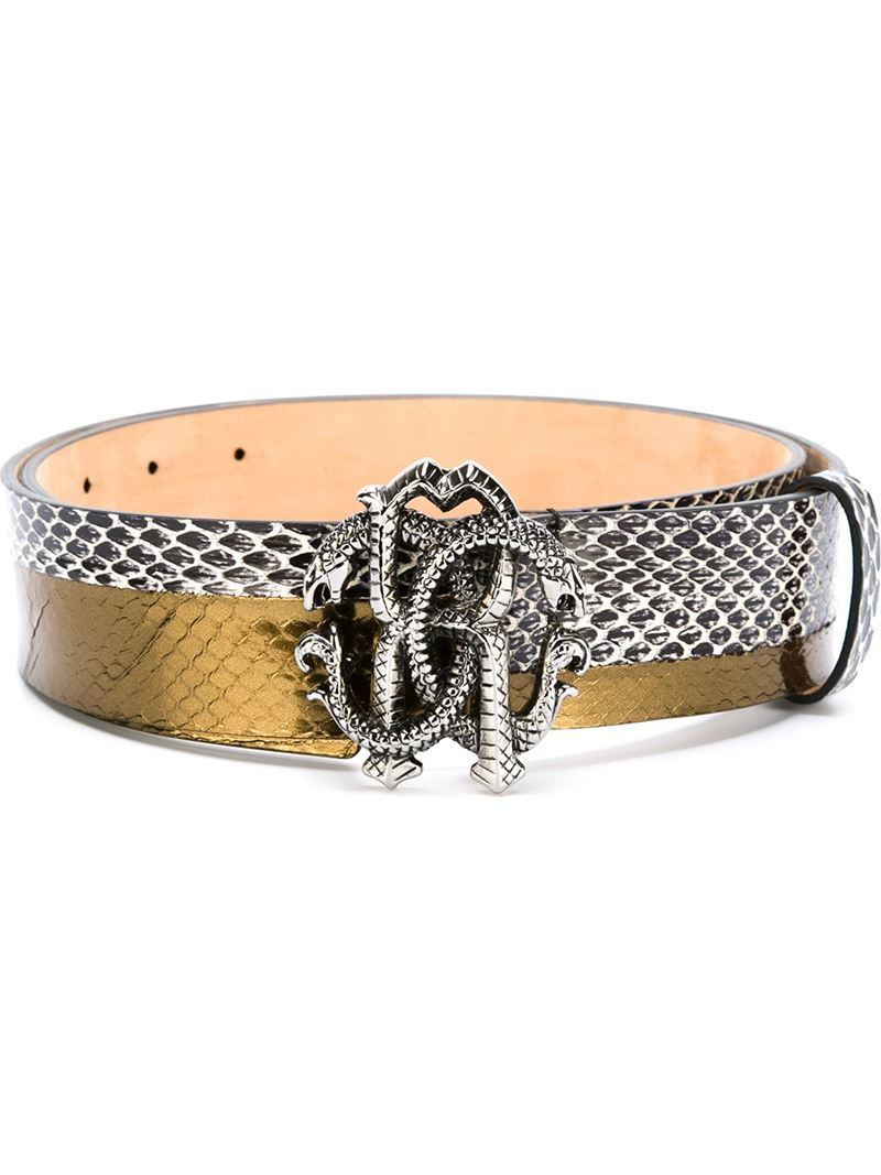 snakeskin effect belt - Metallic Just Cavalli k9DqOIVzy