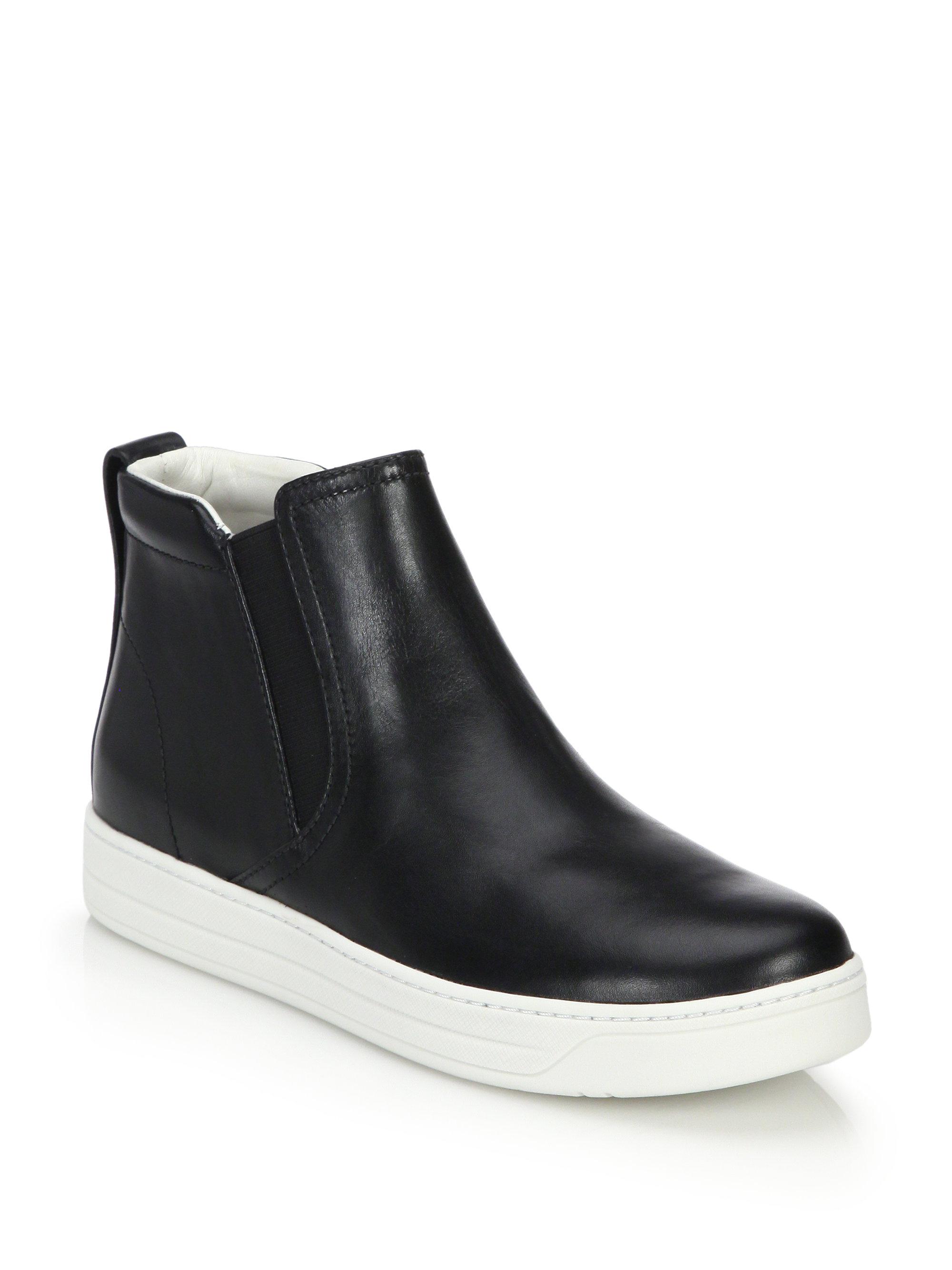 Prada High-Top Leather Skate Sneakers In Black - Lyst-1119