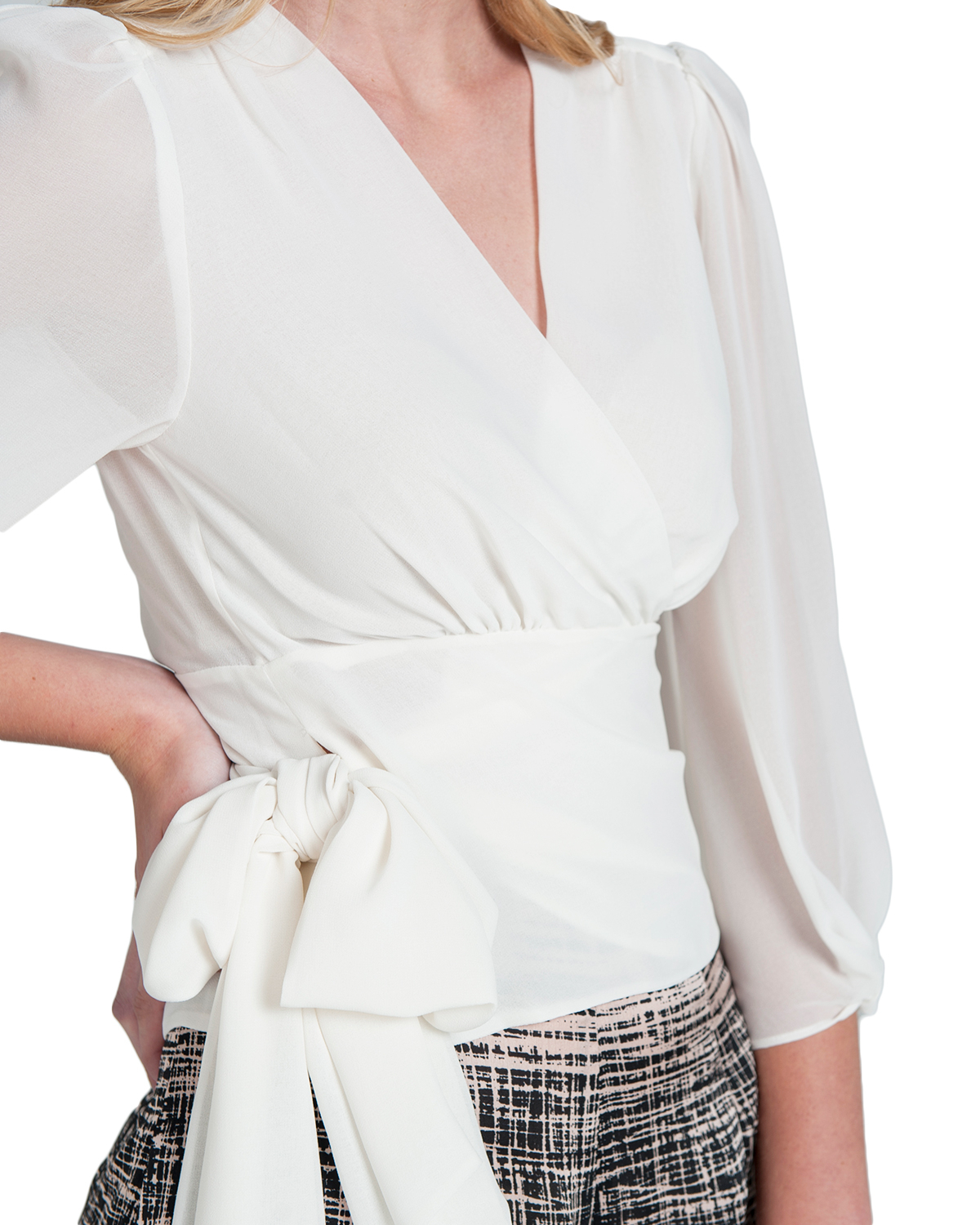 Badgley mischka Silk Wrap Blouse in White | Lyst