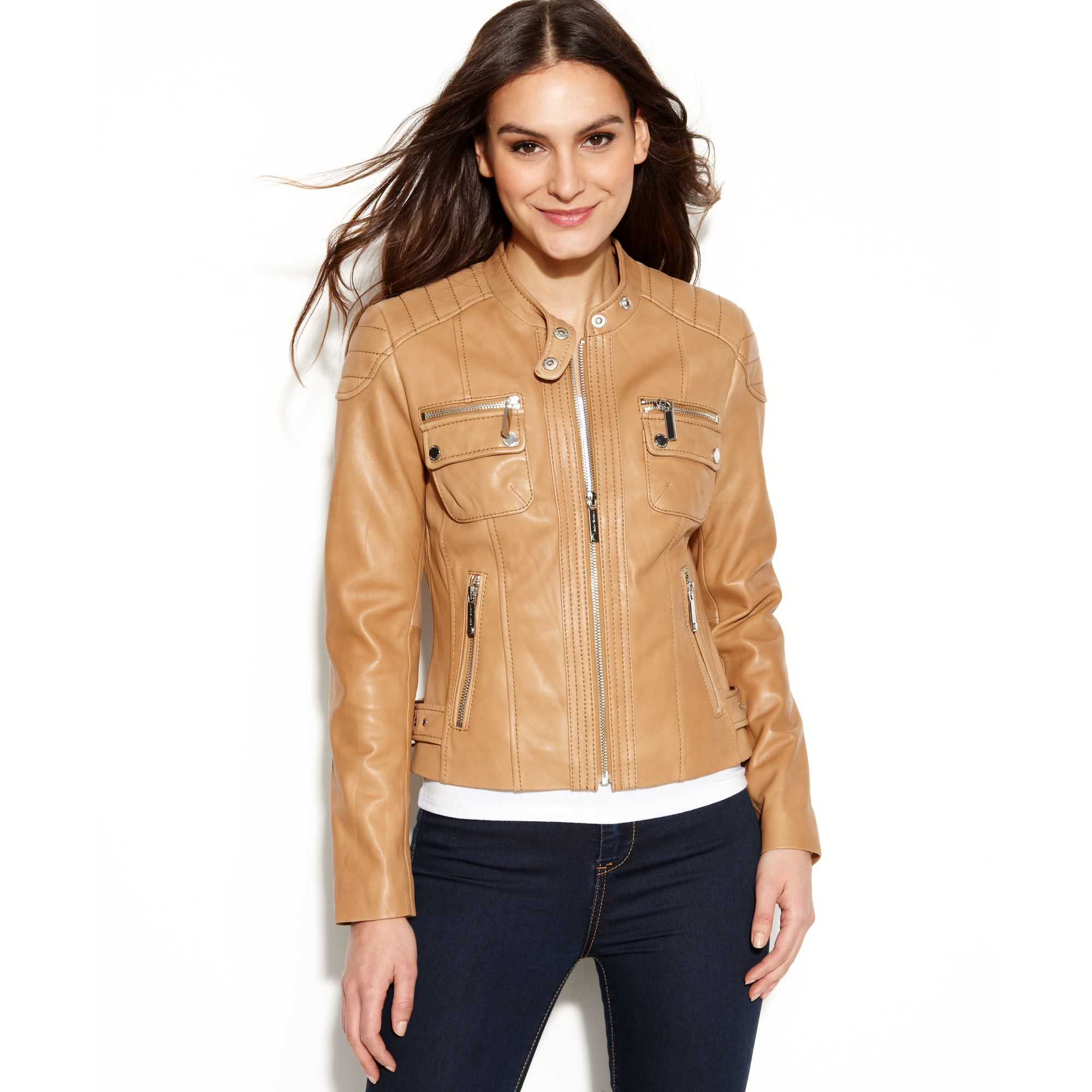 f993585ed Michael Kors Brown Quilted Detail Leather Motorcycle Jacket