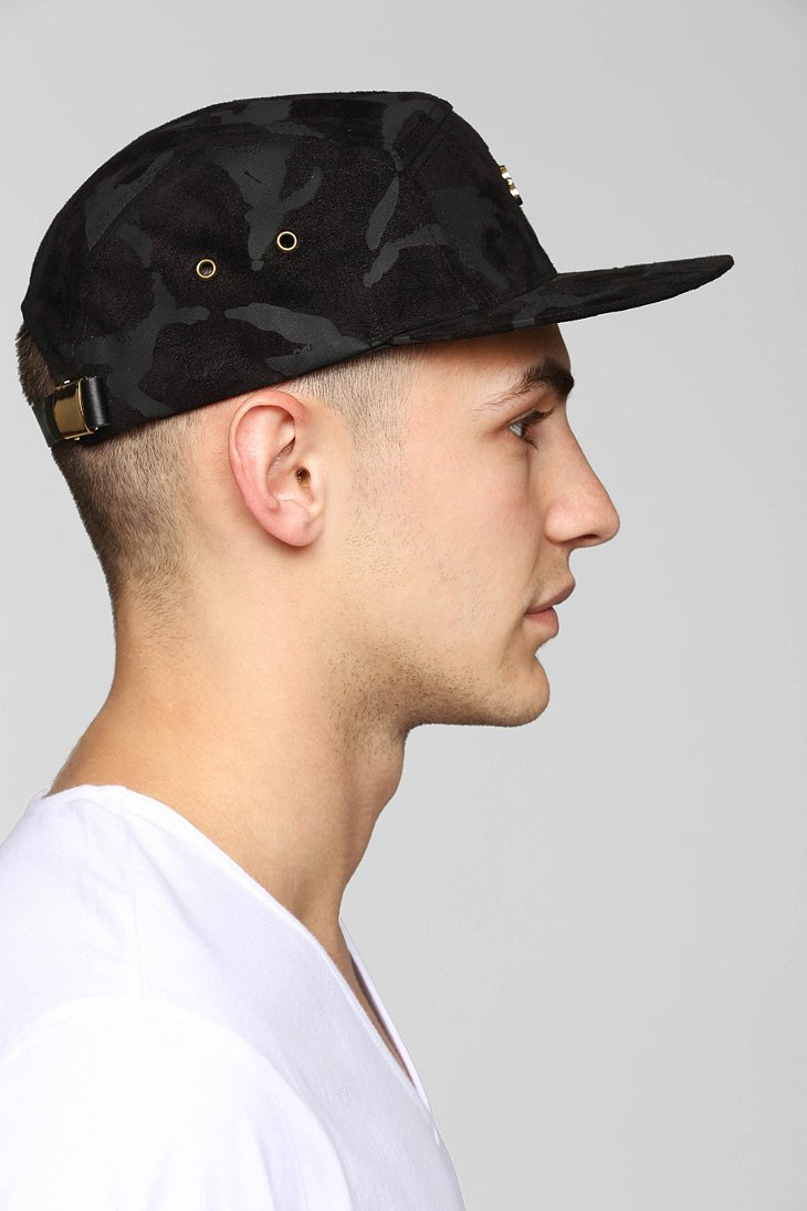 a1220665493 Lyst - Stussy Suede Camo Camp 5-Panel Hat in Black for Men
