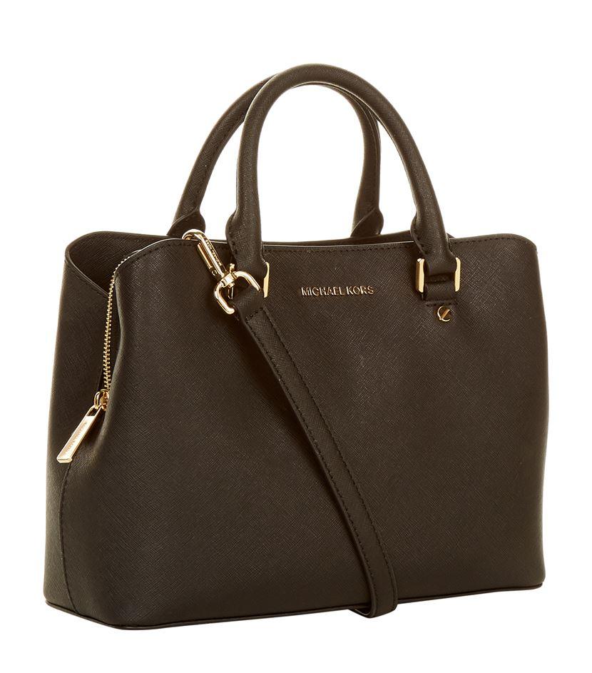 0a8ce7ede4d2a ... shopping michael michael kors medium savannah saffiano satchel in black  lyst 9b95b 63877