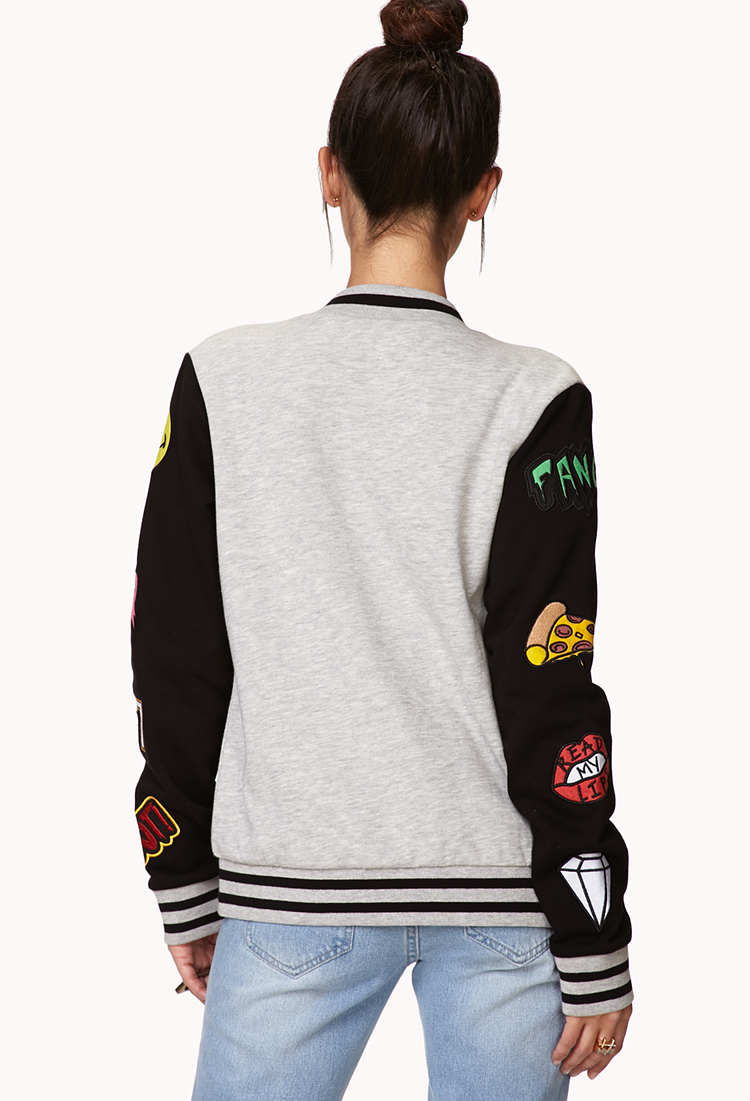Lyst Forever 21 Forever Cool Patch Varsity Jacket You Ve
