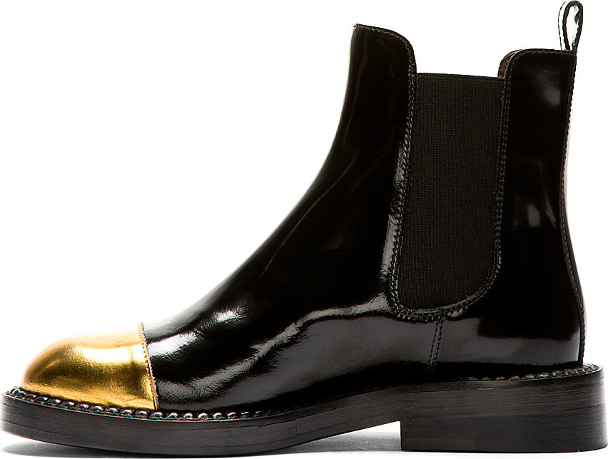 bdc183ea99 Lyst - Marni Black Leather Gold Toe Chelsea Boots in Black