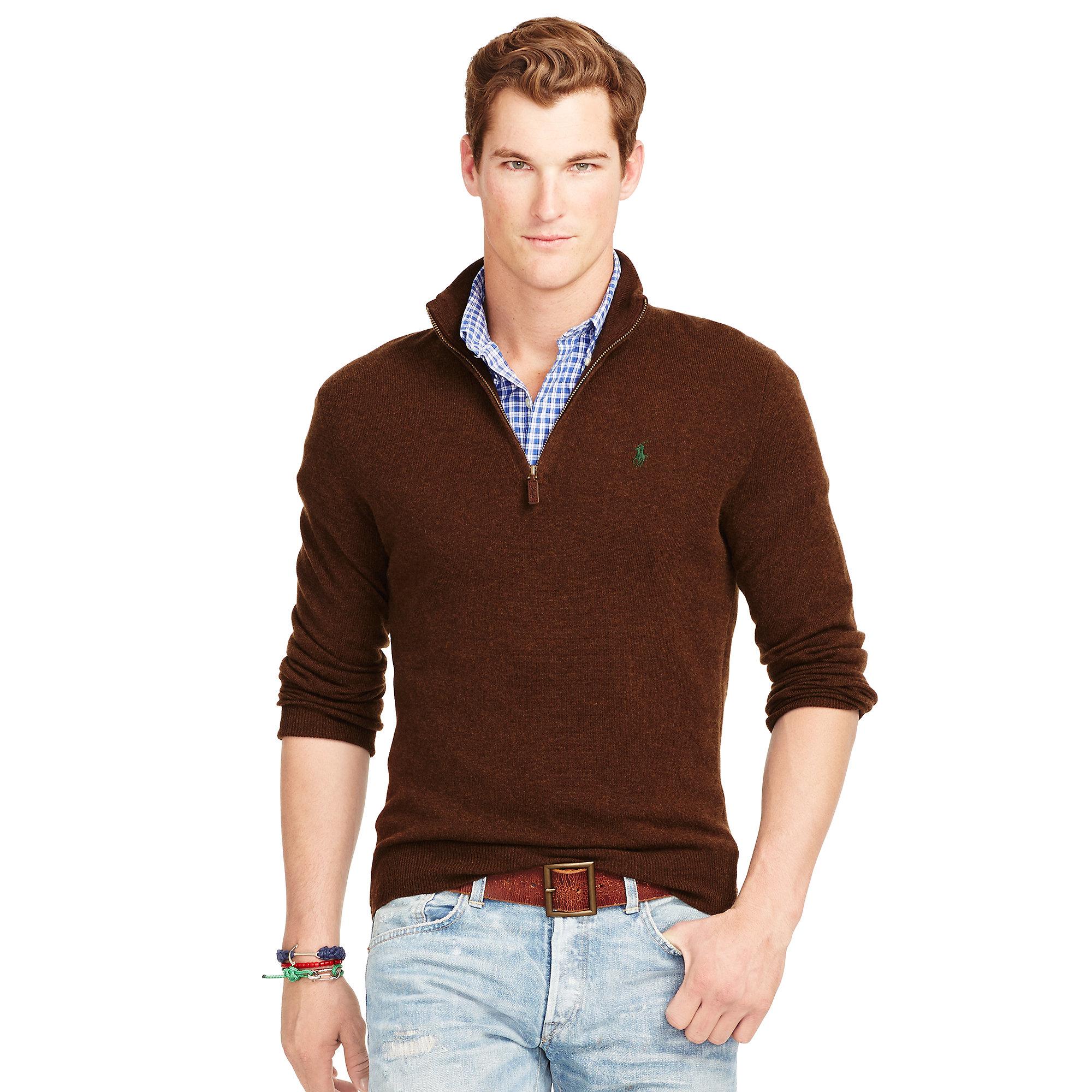 ec8e85109 Lyst - Polo Ralph Lauren Wool Half-zip Sweater in Brown for Men
