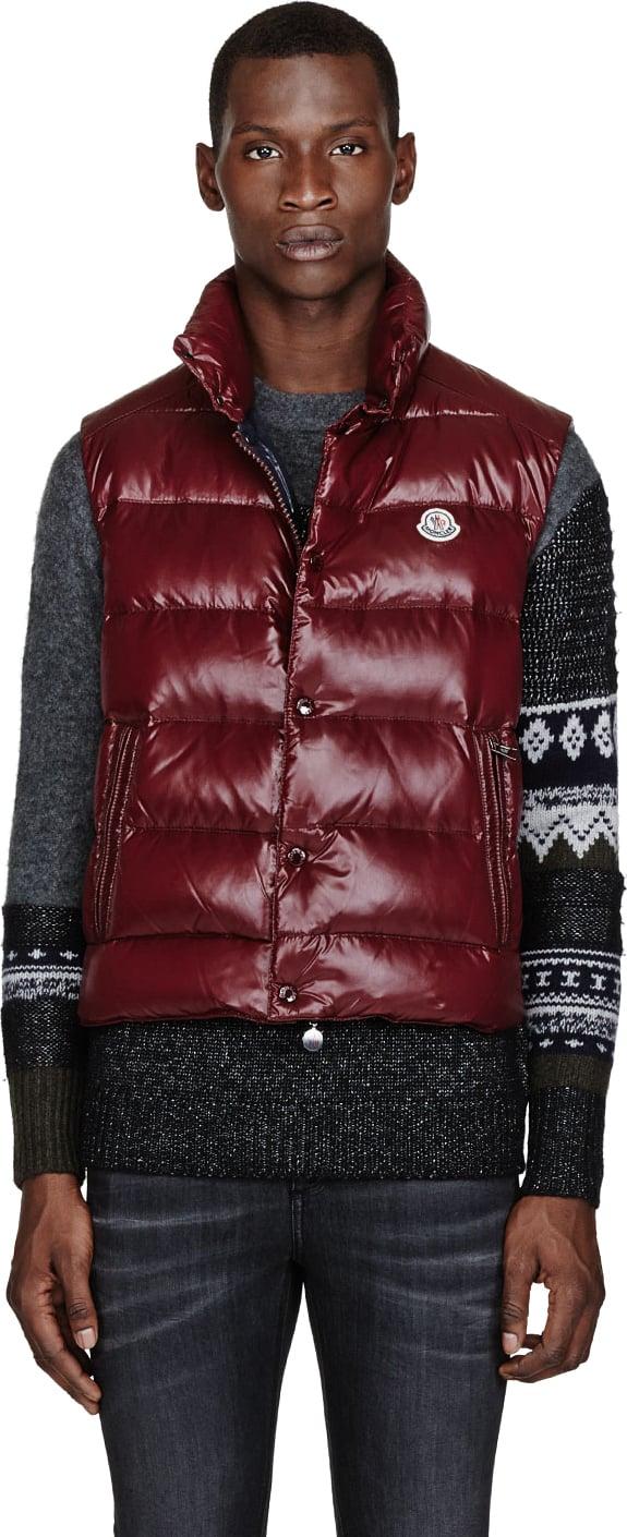 7c878774e2324b Moncler Burgundy Down Tib Puffer Vest in Red for Men - Lyst