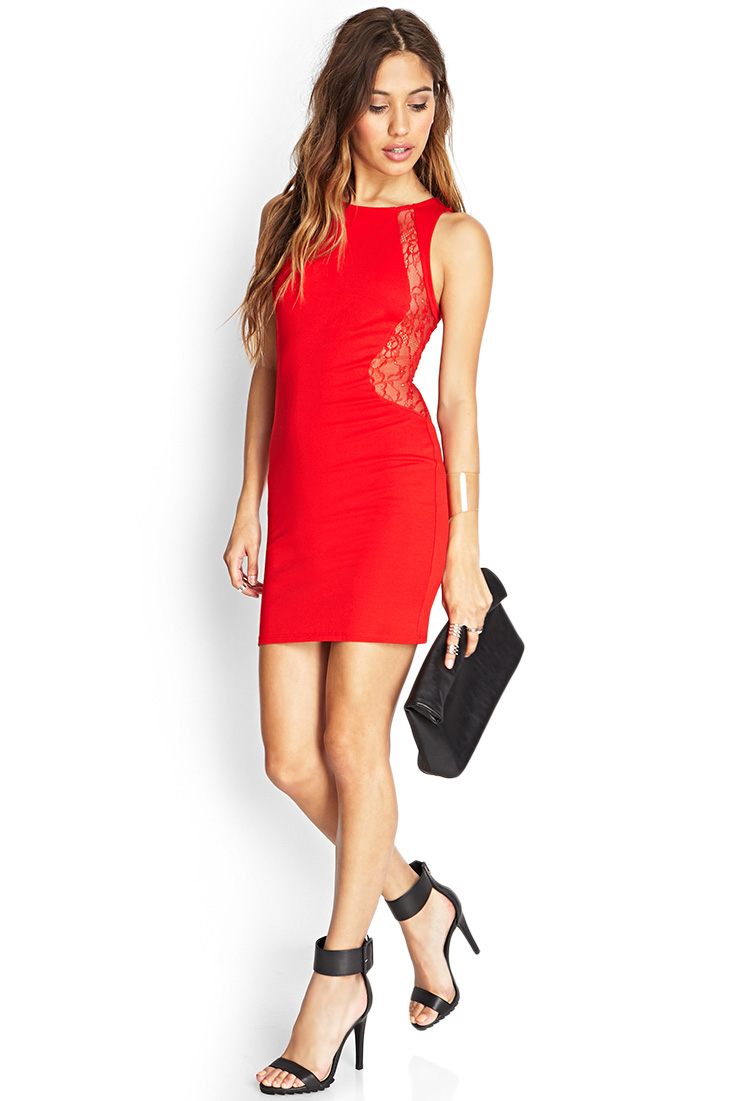Forever 21 Lace Paneled Bodycon Dress in Red | Lyst