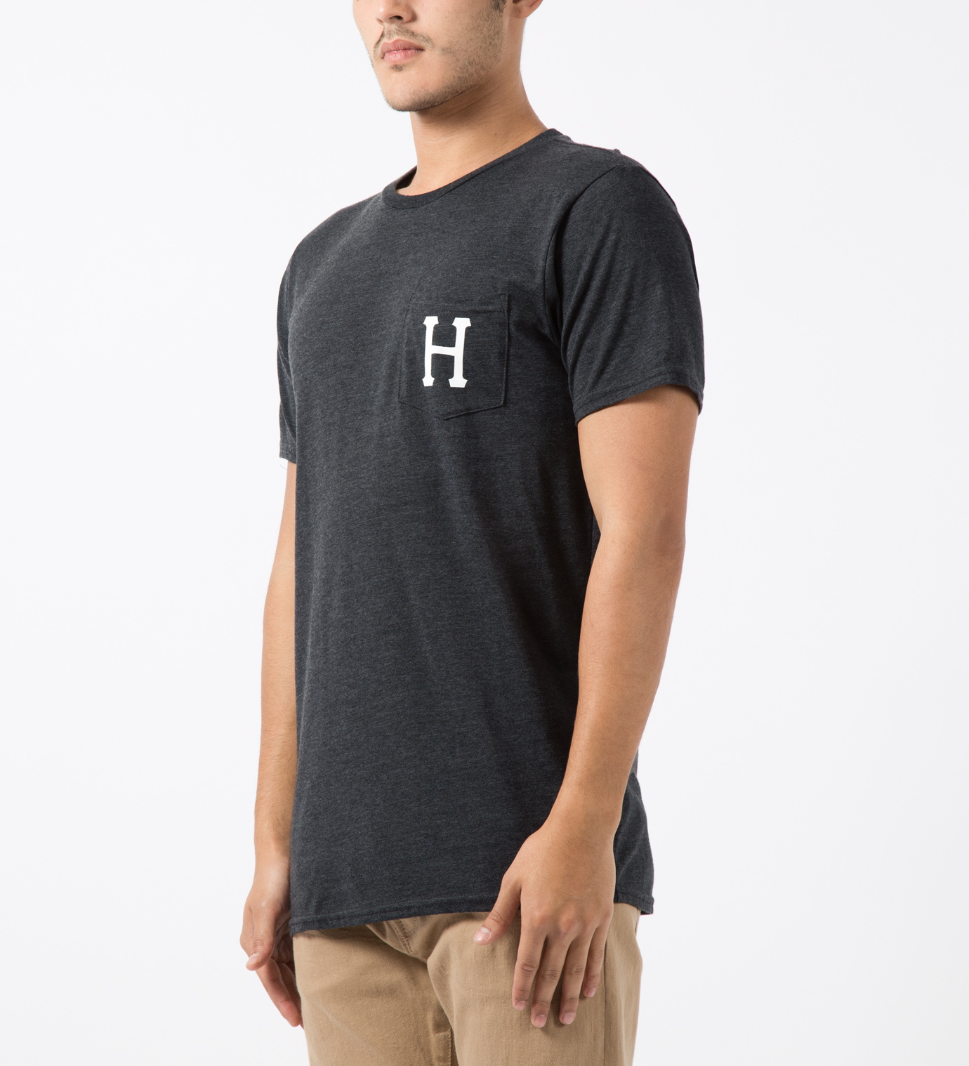 Huf charcoal heather classic h s s pocket t shirt in gray Mens heather grey t shirt