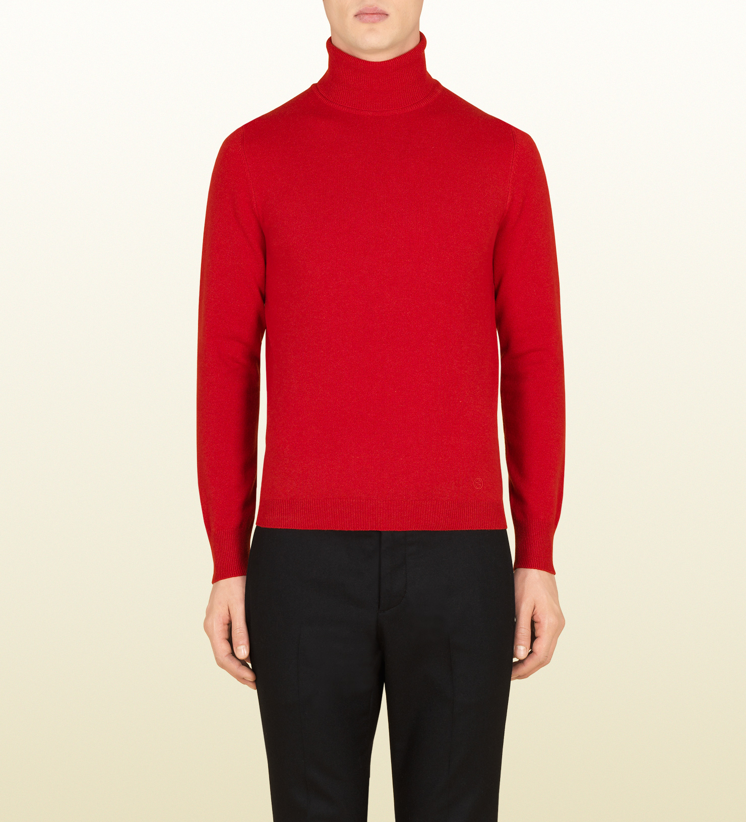 Mens Red Cashmere Turtleneck Sweater - Cardigan With Buttons