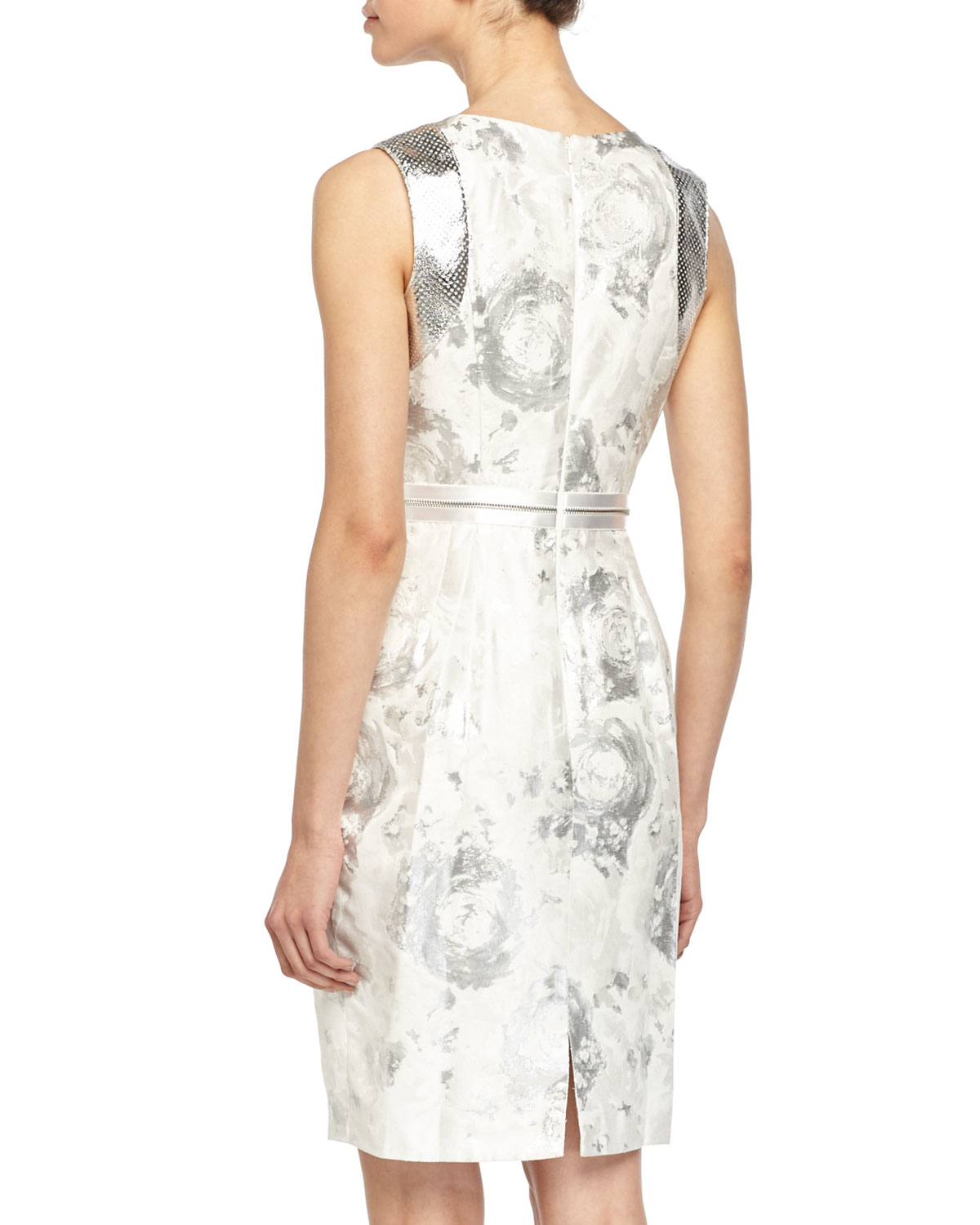 81abc47dbf Lyst - Carmen Marc Valvo Sleeveless Beaded-top Floral Cocktail Dress ...