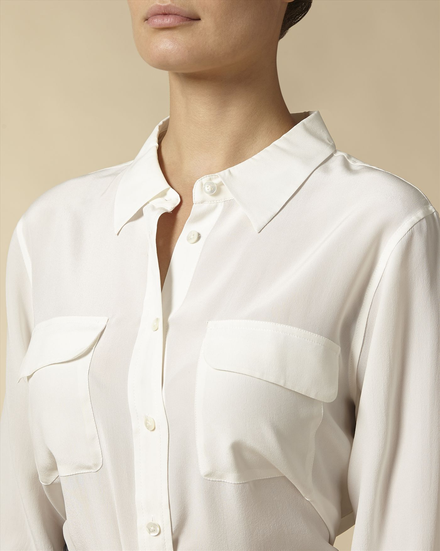 8bc782661486d Lyst - Jaeger Patch Pocket Silk Blouse in Natural
