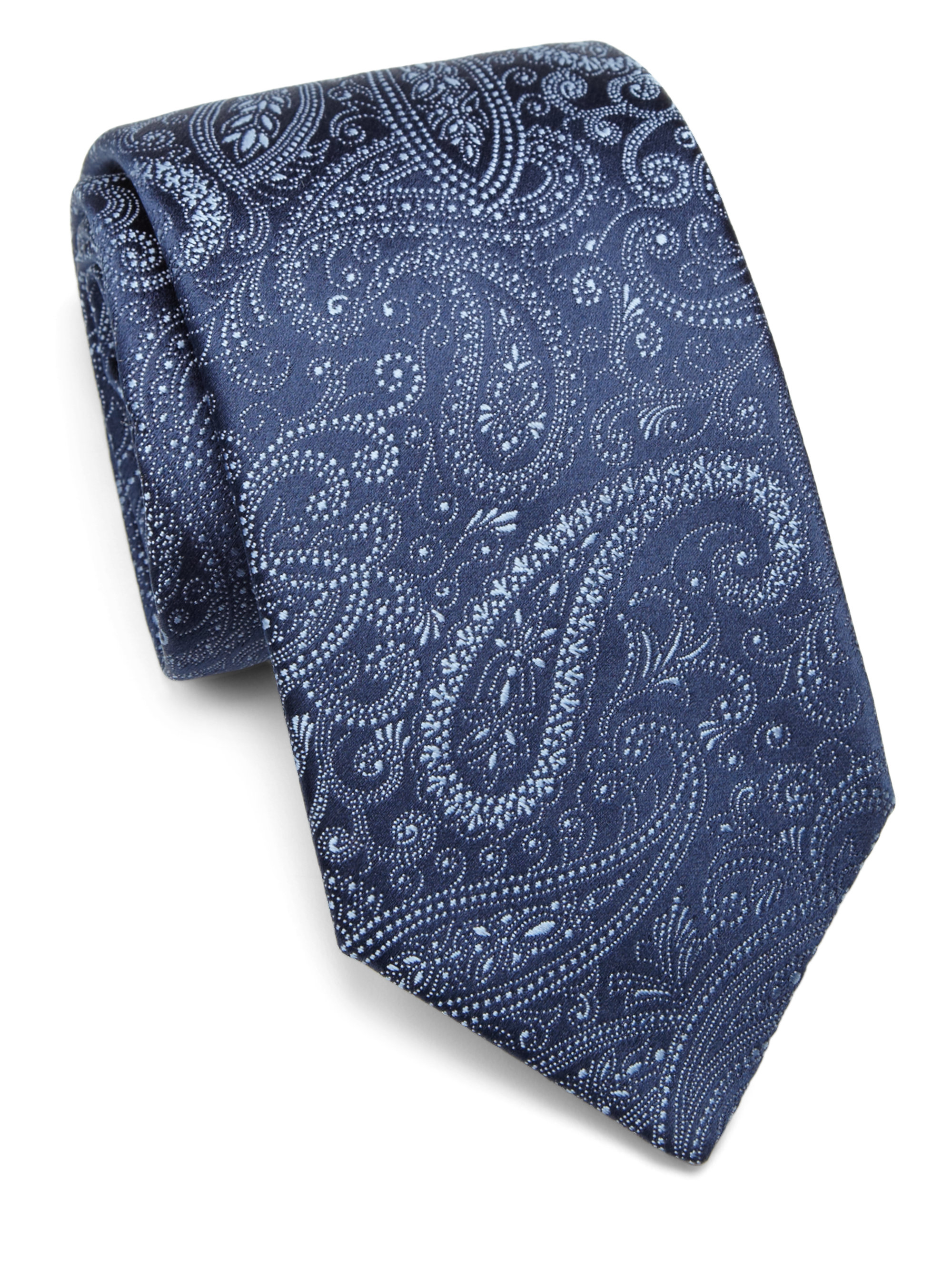 charvet paisley silk tie in blue for lyst