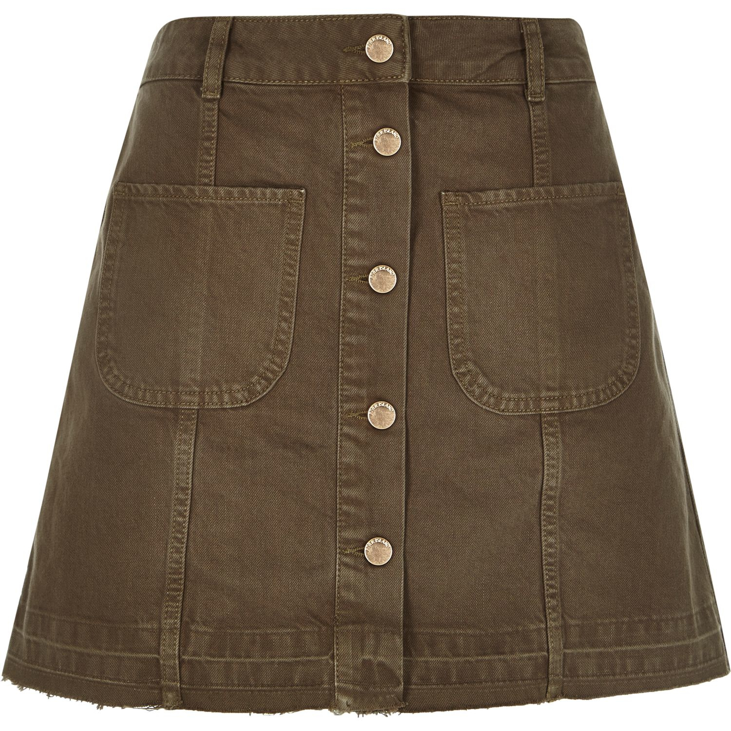 river island khaki denim button up a line skirt in