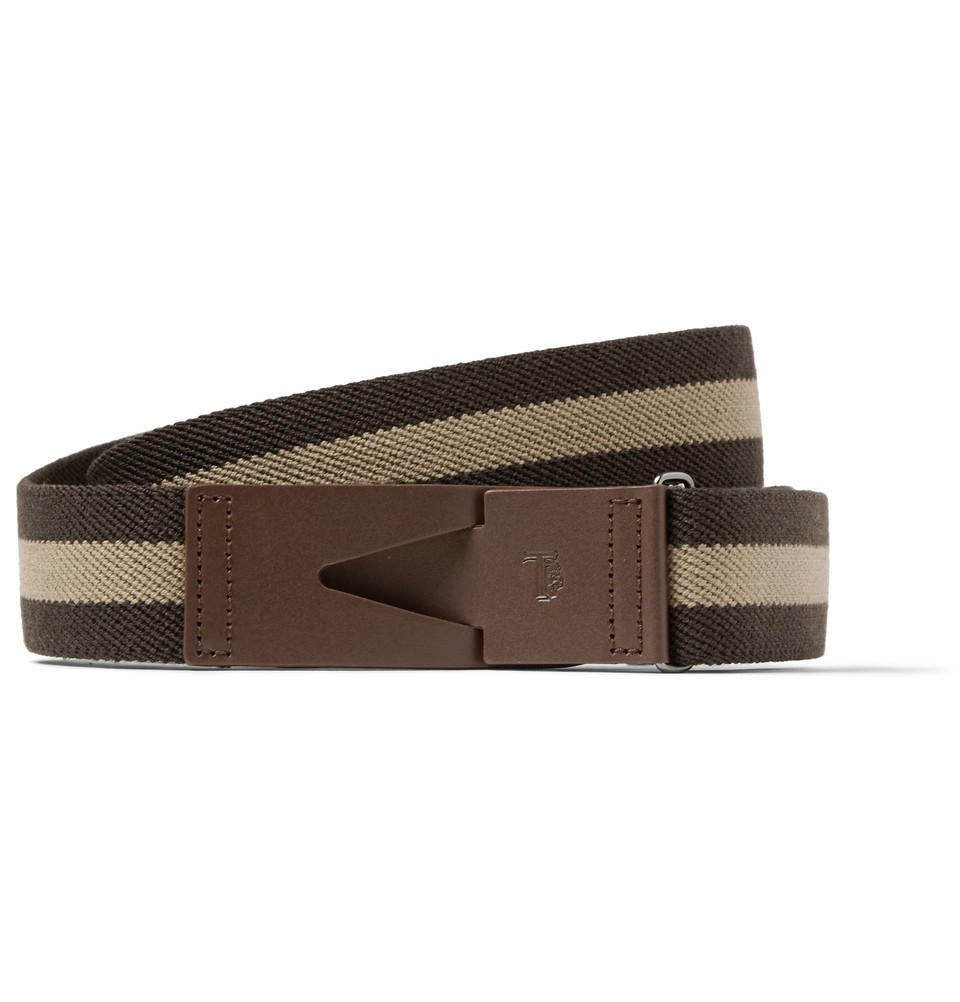 tod s 3cm striped brown leather and canvas belt in brown