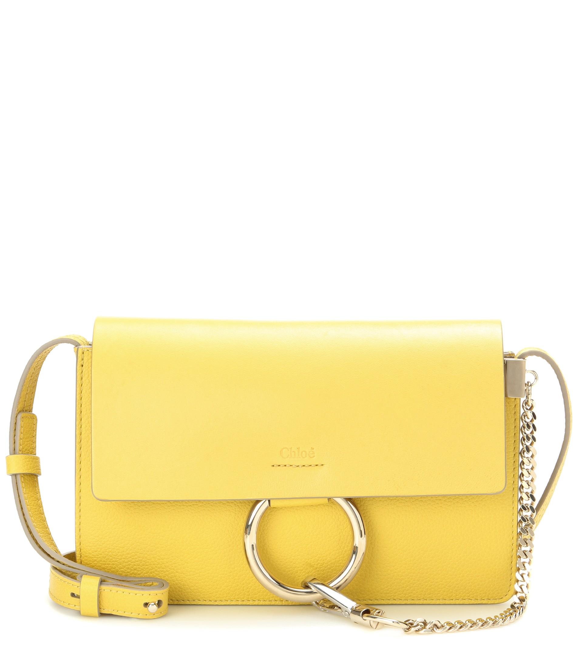 knockoff chloe handbags - Chlo�� Faye Small Leather Shoulder Bag in Yellow | Lyst
