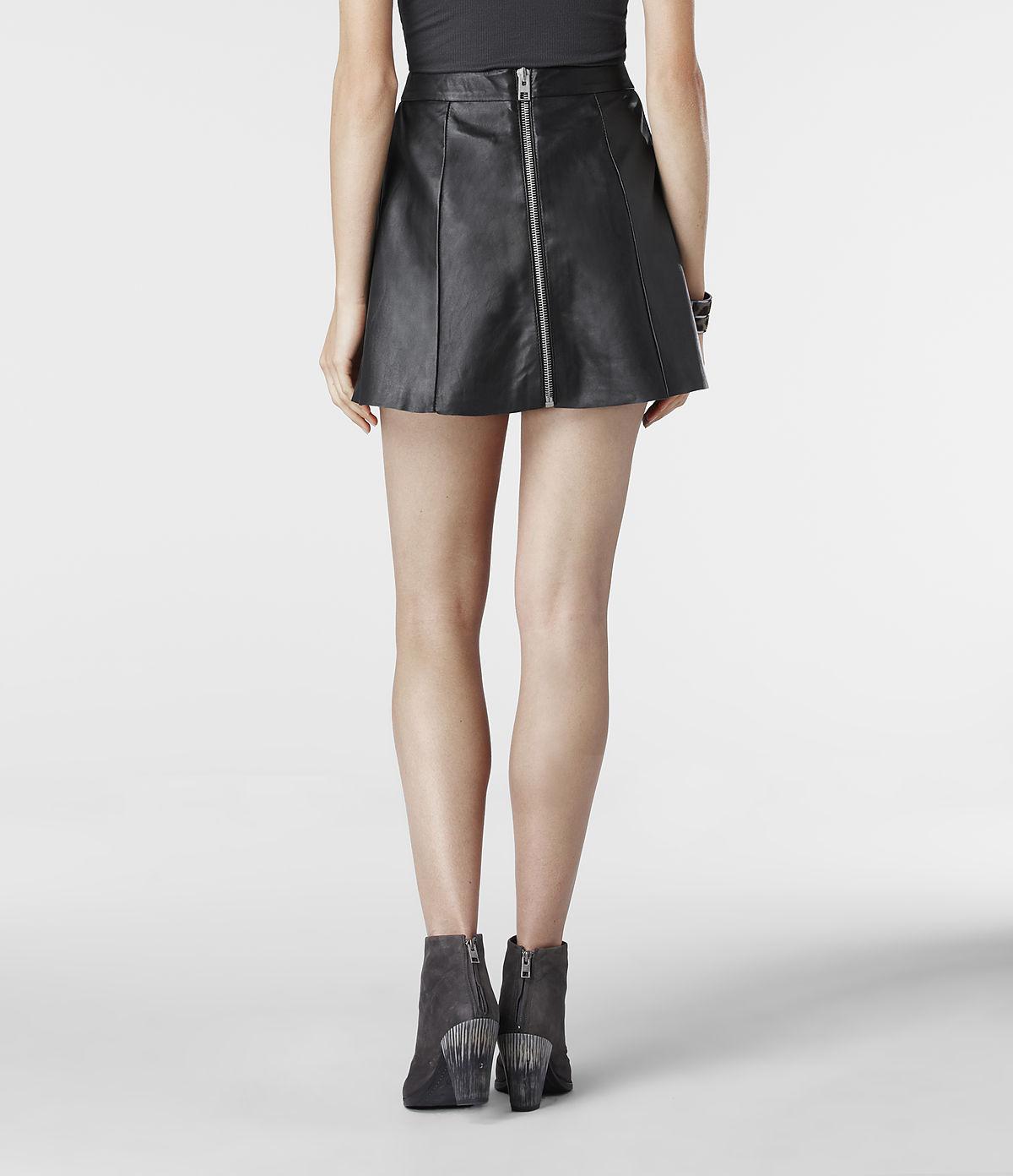 allsaints sens leather skirt in black lyst