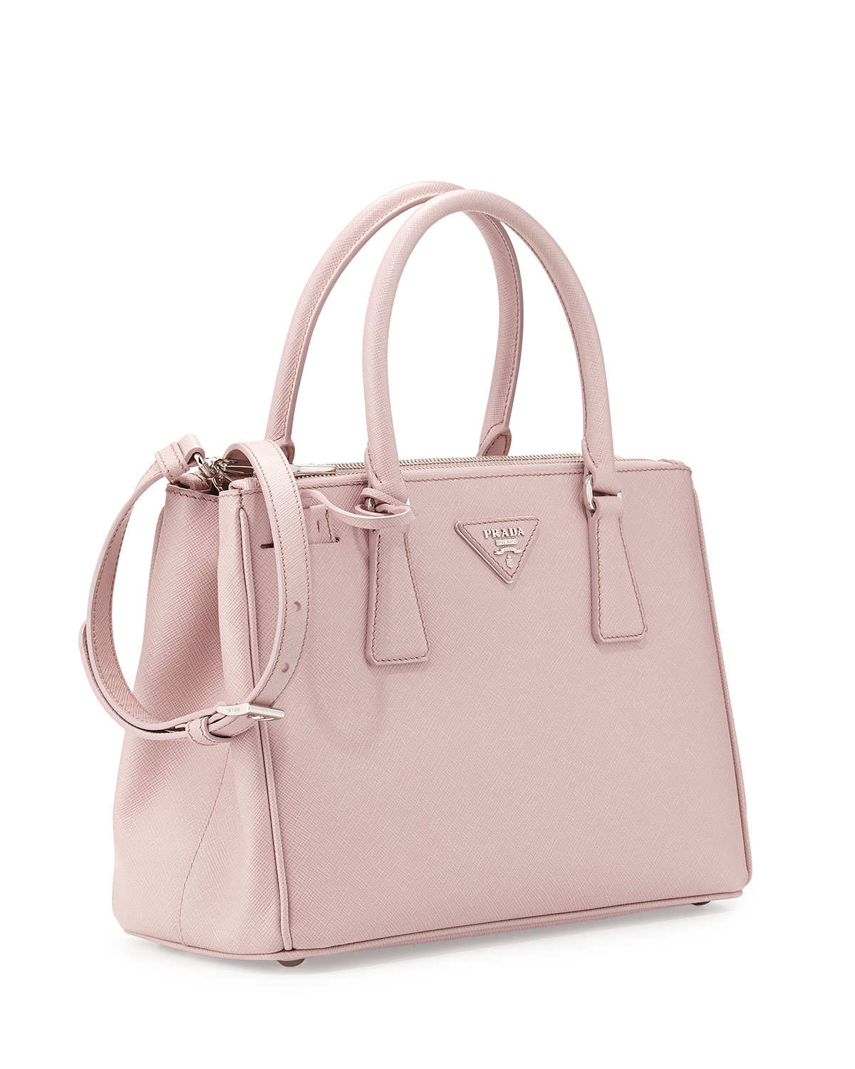 prada saffiano lux double zip tote bag in pink light pink lyst. Black Bedroom Furniture Sets. Home Design Ideas