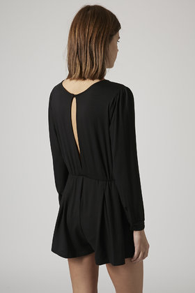 0dcd0d766f5 TOPSHOP Petite Long Sleeve Wrap Playsuit in Black - Lyst