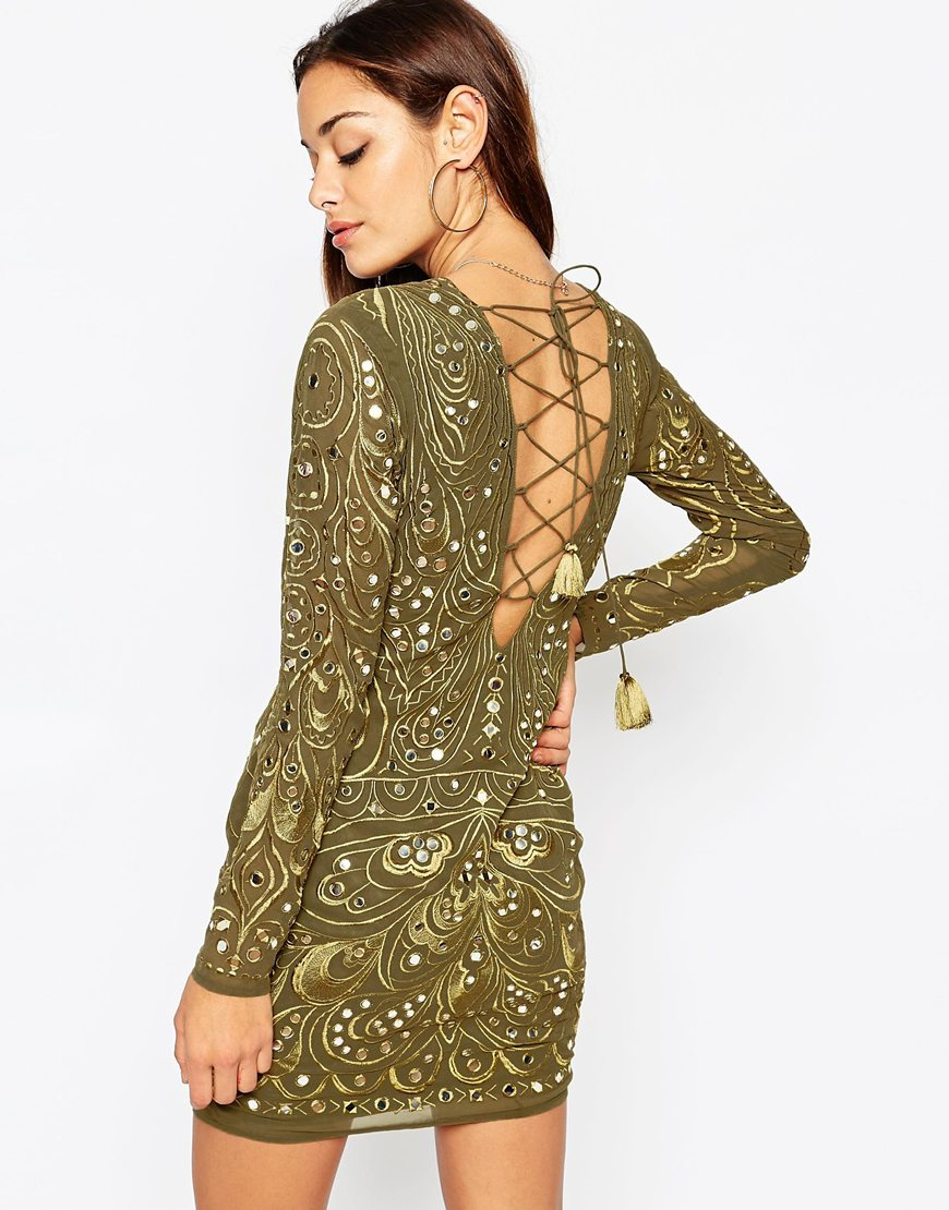Khaki long sleeve bodycon dress
