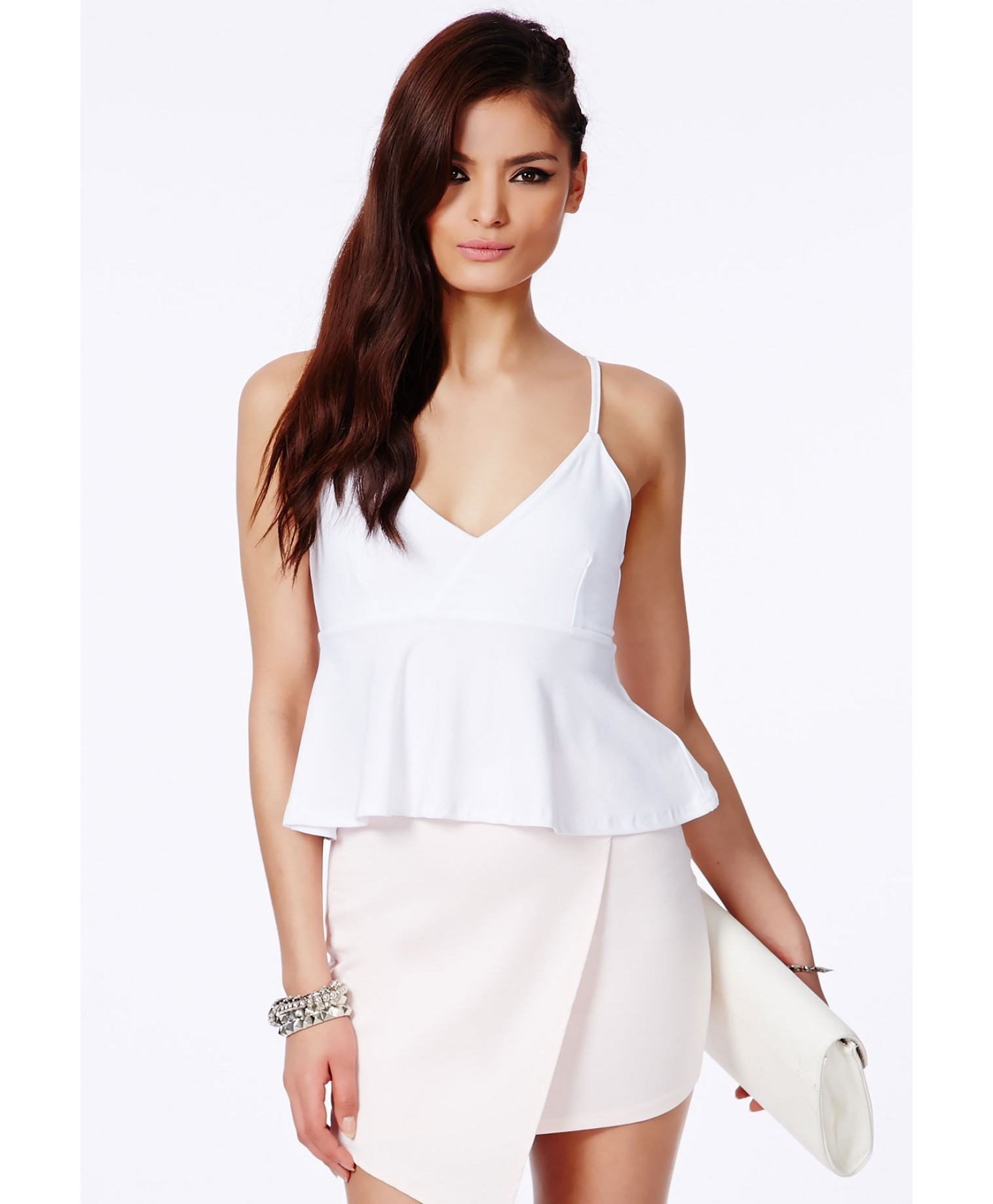 8fed658f9122a3 Lyst - Missguided Neema White Crepe Peplum Crop Top in White