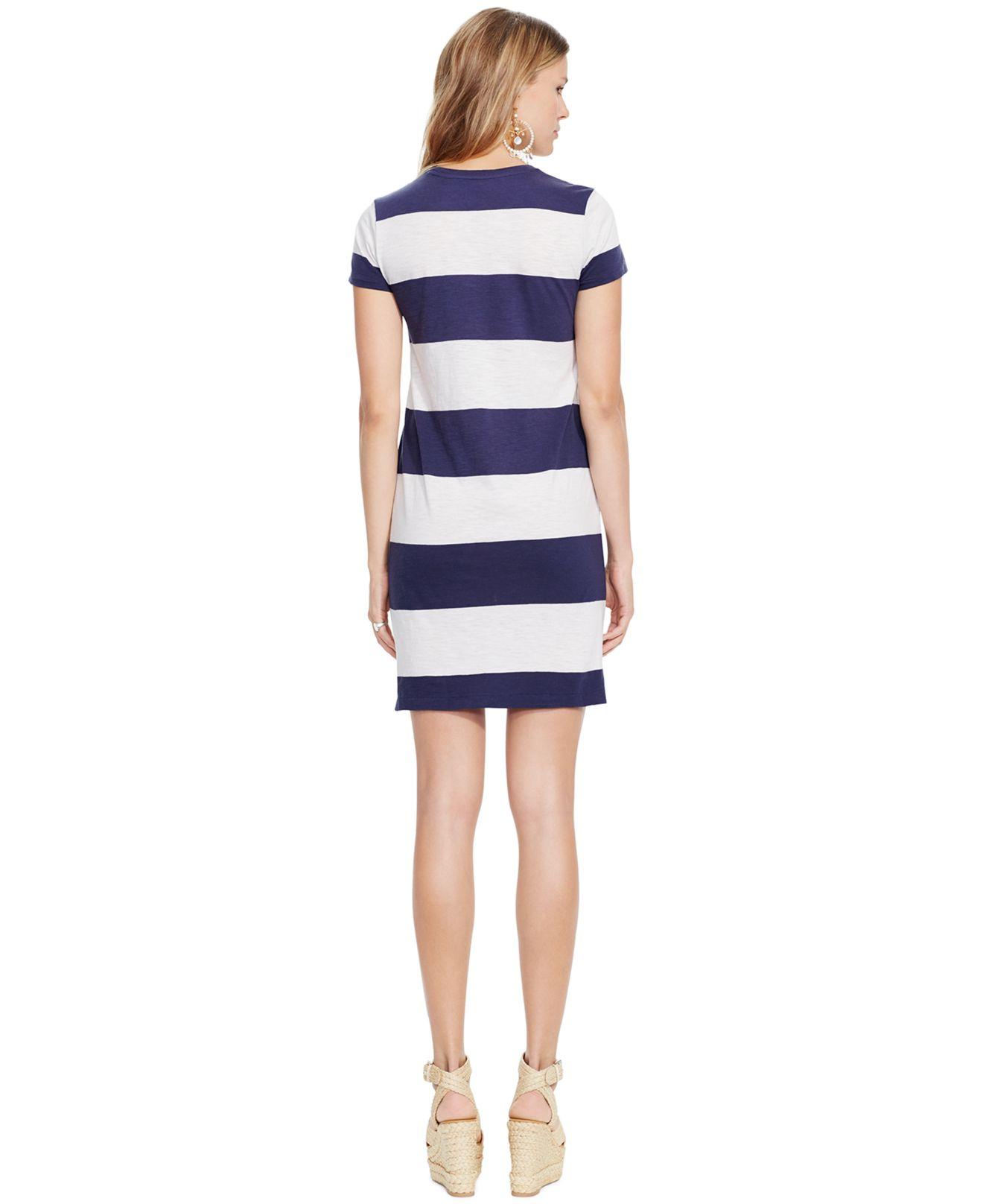 Lyst Polo Ralph Lauren Striped T Shirt Dress In Blue