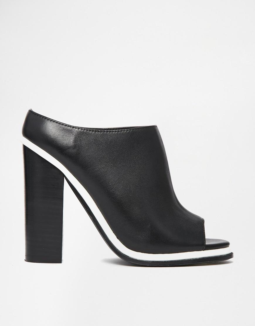 3a14e629adff Lyst - Faith Cannon Leather High Heeled Mule Sandals in Black