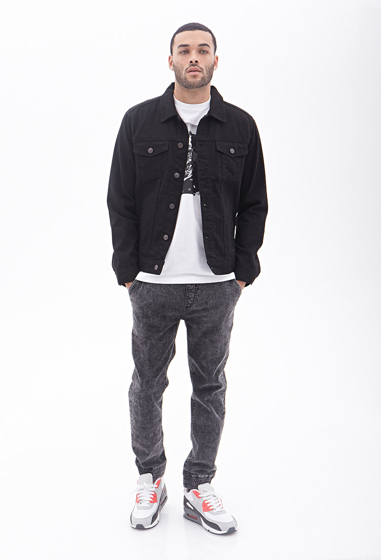 Forever 21 Clean Wash Denim Jacket in Black for Men | Lyst