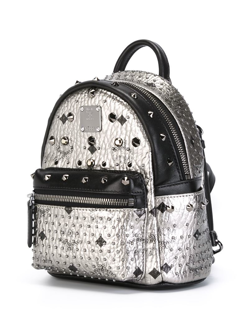 lyst mcm 39 stark 39 small studded backpack in gray. Black Bedroom Furniture Sets. Home Design Ideas