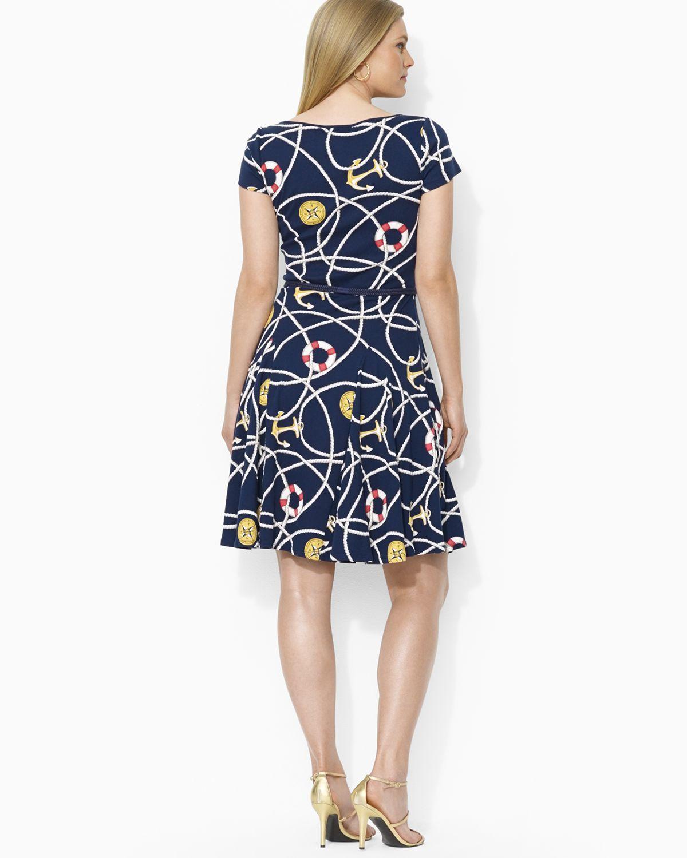 Ralph Lauren Lauren Plus Nautical Print Dress In Blue Lyst
