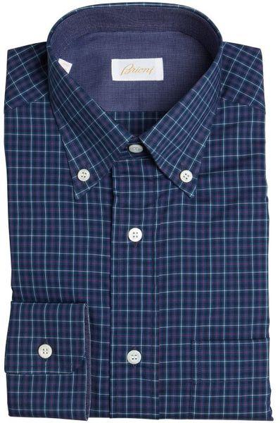 Brioni dark blue red and white stripe button down dress for Red and white button down shirt