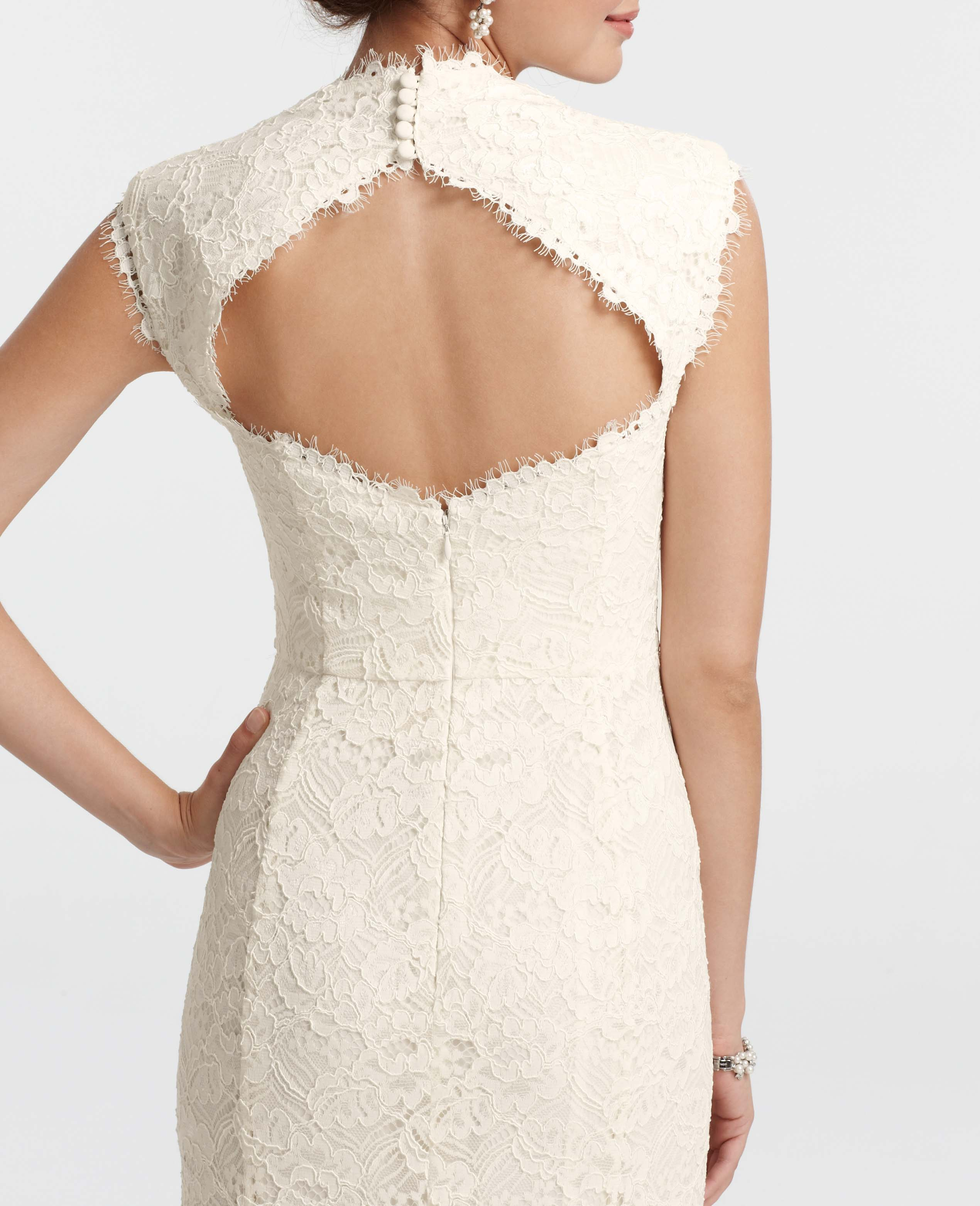 Ann taylor petite isabella lace wedding dress in white lyst for Petite lace wedding dresses