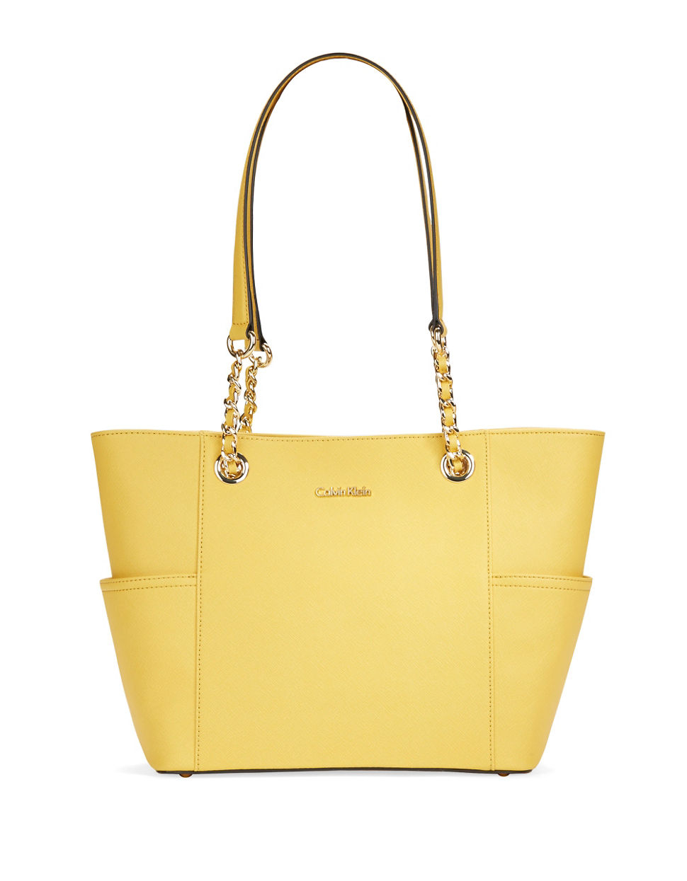 Calvin klein Saffiano Leather Tote in Yellow | Lyst