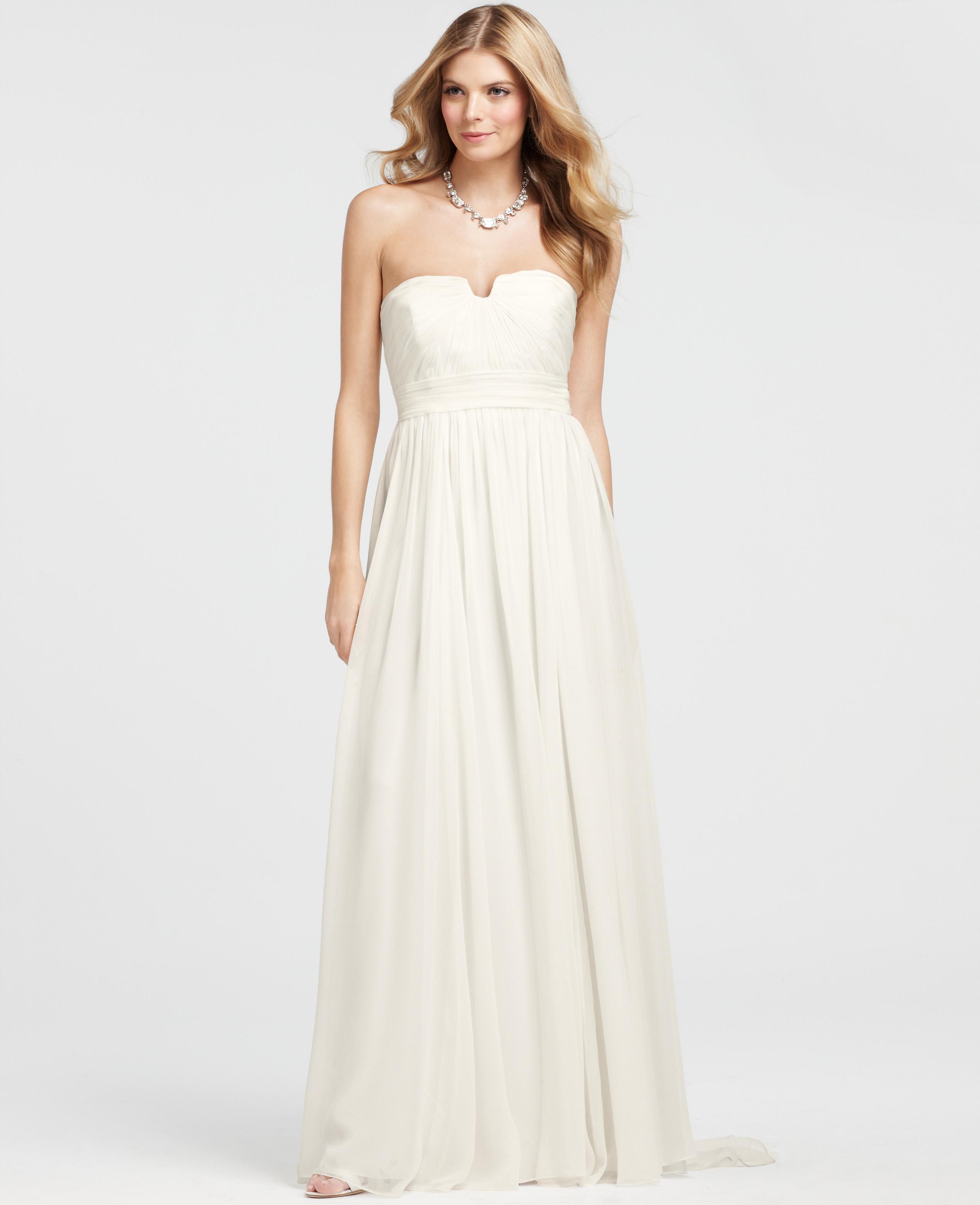 Vintage Wedding Dresses Canada: Ann Taylor Vintage Silk Strapless Wedding Dress In White