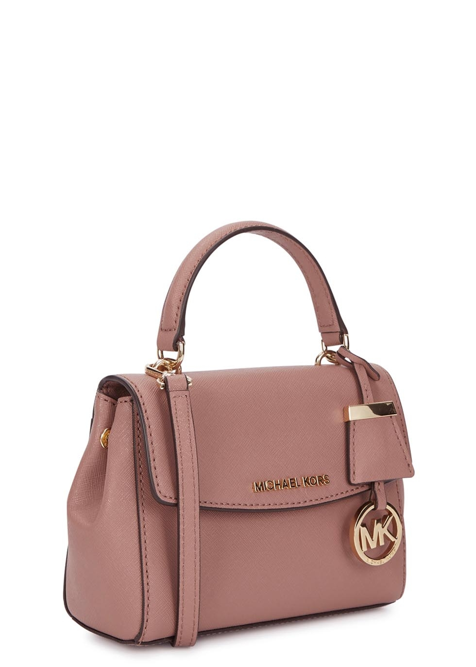 michael kors ava xs dusty rose saffiano leather cross body bag in pink lyst. Black Bedroom Furniture Sets. Home Design Ideas
