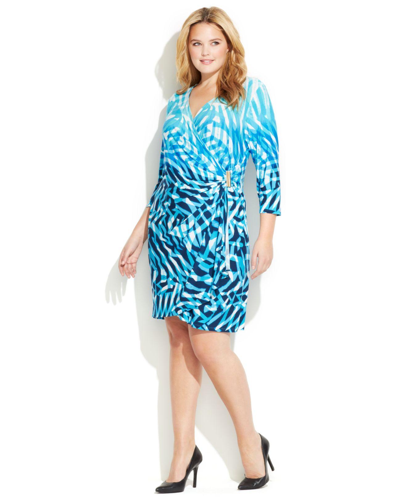 Plus Size Faux Wrap Dresses 20