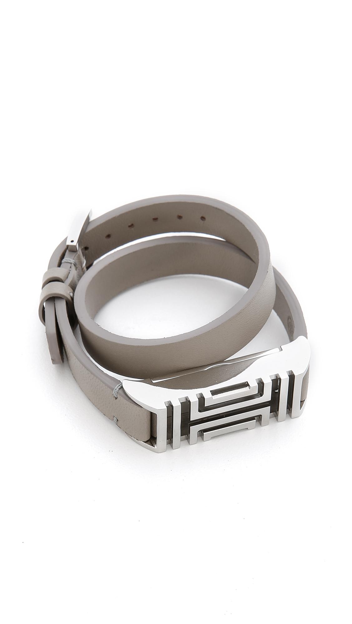 dbc55d0e4d6 Lyst - Tory Burch For Fitbit Fret Double Wrap Bracelet - French Gray ...