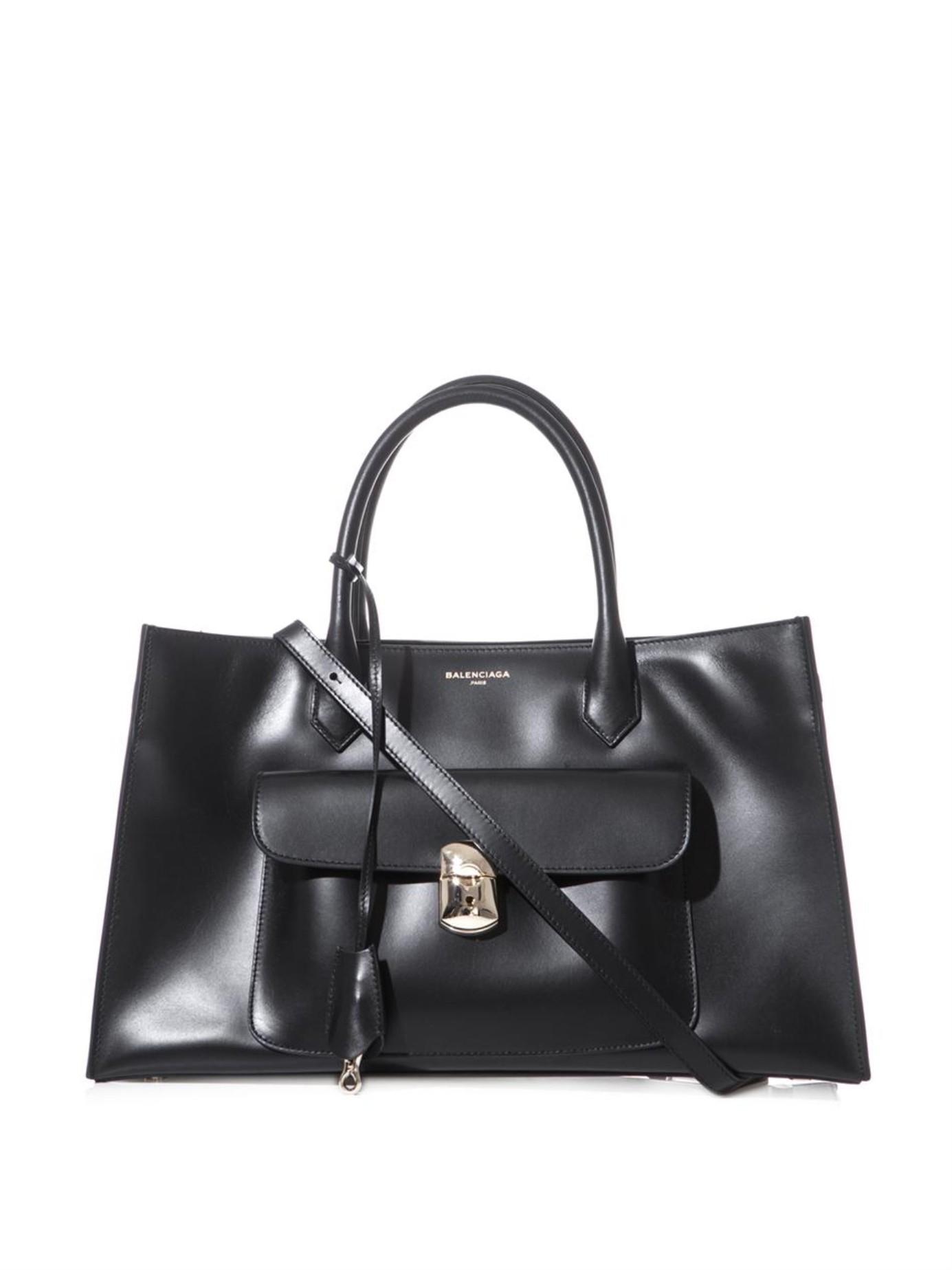 Tote Padlock Black Lyst In Large Balenciaga Work Leather WroeQCxEdB
