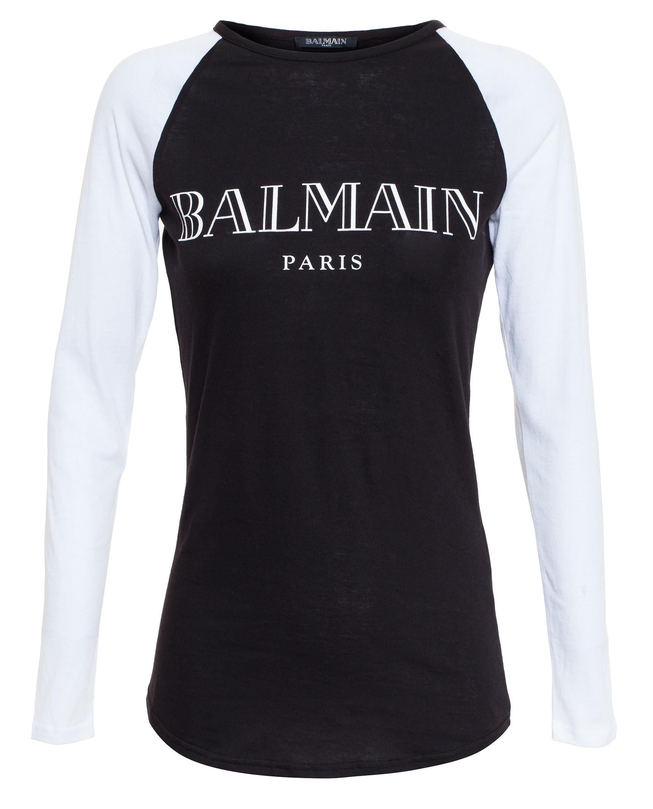 Lyst balmain logo t shirt in black for Balmain white logo t shirt