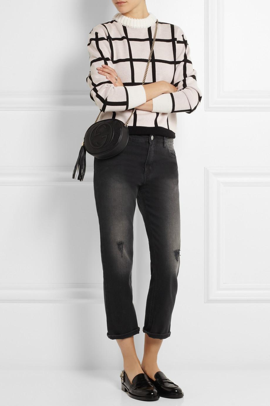 Acne Studios Pop Given Trash Distressed Mid-Rise Boyfriend Jeans in Black