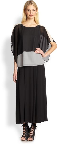 eileen fisher silk pleated maxi skirt in black lyst